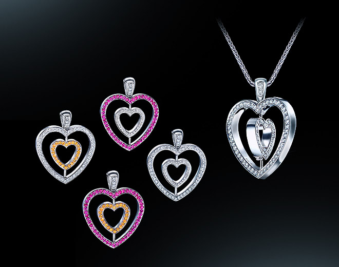 Girasole Double Heart (Pink and Yellow Sapphires) Pendant