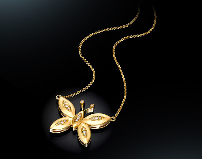 BF-17 Butterfly  Pendant Yellow Gold