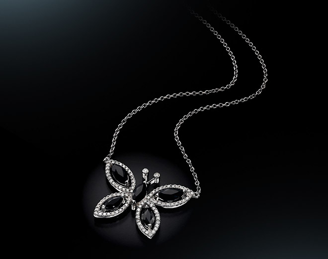 BF-SAP Butterfly with Black Sapphires Pendant