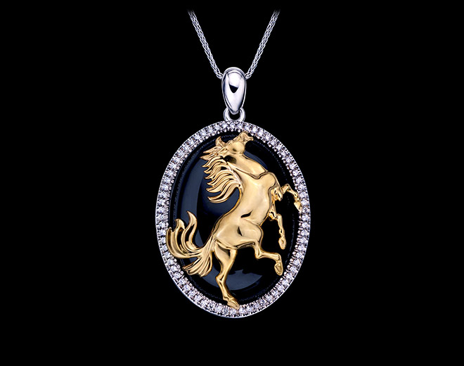 Horse Pendant White & Yellow Gold